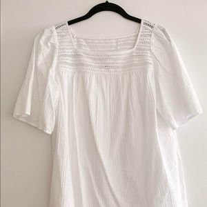 Gap | White Short Sleeve Blouse | Square Neckline